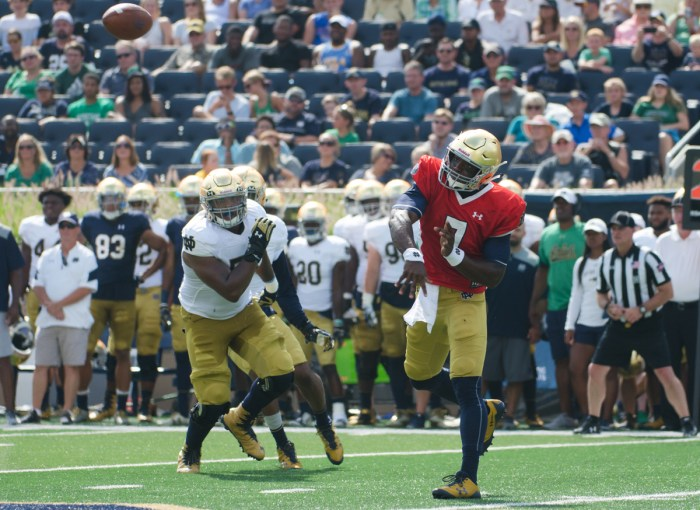 Junior quarterback Brandon Wimbush follows through after firing a pass across the field during Notre Dame's New and Gold scrimmage Aug. 20 at Notre Dame Stadium. Wimbush played in two games as a freshman in 2015 while serving as DeShone Kizer's backup.