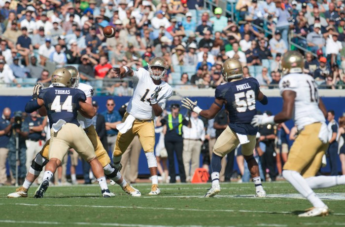 Former Irish quarterback DeShone Kizer throws a pass during Notre Dame's 28-27 loss to Navy at EverBank Field in Jacksonville, Florida, on Nov. 5. Kizer was named the starting quarterback of the Cleveland Browns, who begin their season against the Pittsburgh Steelers on Sept. 10. Kizer was selected as the No. 52 overall pick in the 2017 NFL Draft, forgoing his final two season of eligibility at Notre Dame.