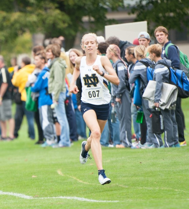Irish junior Anna Rohrer competes in the Joe Piane Invitational on Sept. 30 at Burke Golf Course. Rohrer finished first in the race.