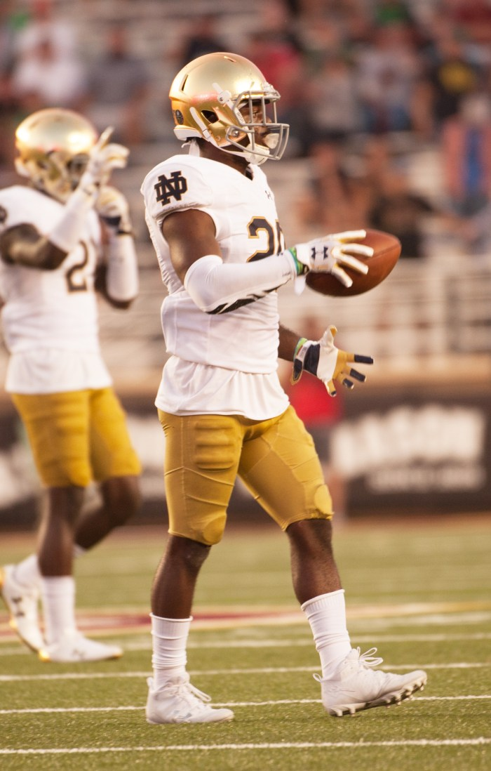 Irish junior cornerback Shaun Crawford celebrates an interception during Notre Dame's 49-20 win over Boston College on Sept. 16 at Alumni Stadium in Chestnut Hill, Massachusetts. Crawford had two interceptions during the game.