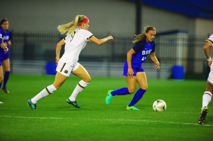 Irish sophomore forward Natalie Jacobs chases down an opponent during Notre Dame's 3-0 loss to Duke on Sept. 21 at Alumni Stadium. Jacobs is currently Notre Dame's leading scorer with 19 points on the year.