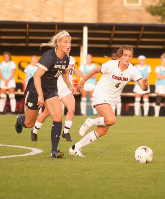 Irish sophomore forward Jennifer Westendorf races for the ball during Notre Dame's 1-0 double-overtime loss to South Carolina on Sept. 1 at Alumni Stadium.