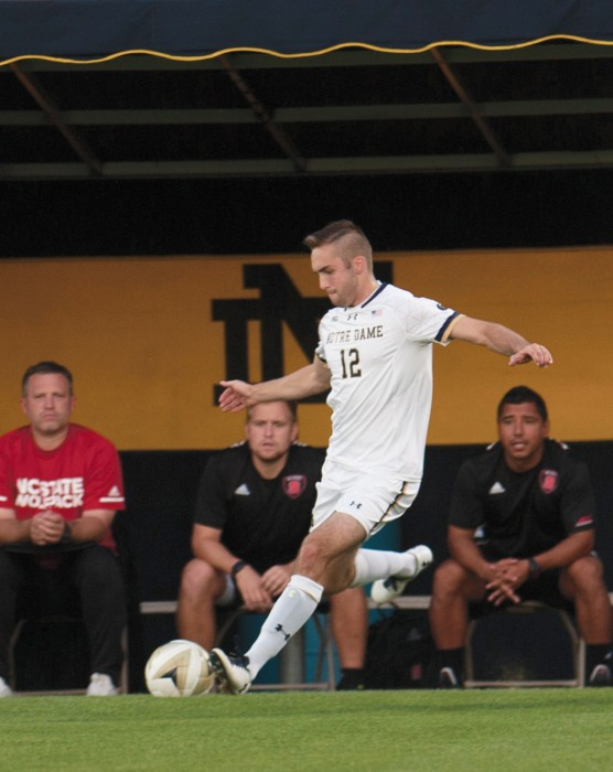 Irish senior forward Kyle Dedrick shoots the ball during Notre Dame's 3-0 win over North Carolina State on Sept. 15 at Alumni Stadium.