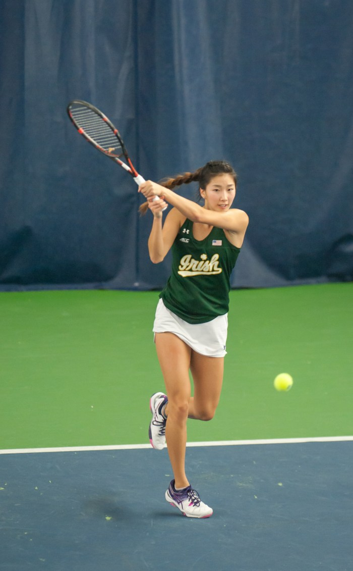 Irish junior Rachel Chong returns a backhand during Notre Dame's 5-2 win over Purdue on Feb. 22 at Eck Tennis Pavilion. Chong was one of three Irish athletes undefeated in singles play this past weekend.