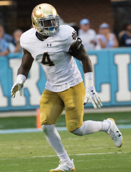 Irish junior linebacker Te'von Coney reads the play during Notre Dame's 33-10 victory over North  Carolina on Oct. 7. Brian Kelly said Coney will start against USC in place of the injured Greer Martini.