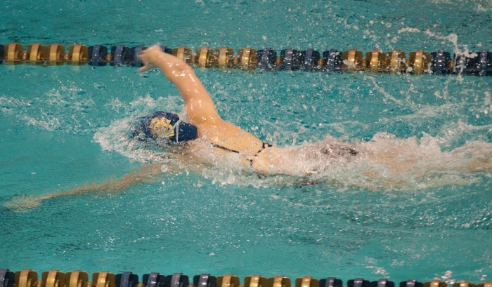 Sophomore Abbie Dolan races to the finish of the 200-yard freestyle during Notre Dame's 153.5-146.5 victory over Louisville on Oct. 7 at Rolfs Aquatic Center. Dolan owns the team record in the 200 free.
