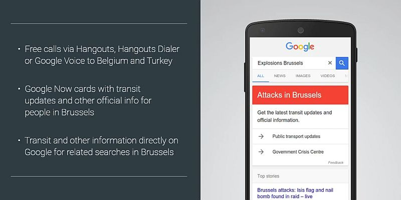 Brussels Attacks: Google Offers Free Calls Via Hangouts to Belgium and Turkey