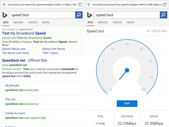 Microsoft Experiments With Showing Network Speed Test Results on Bing