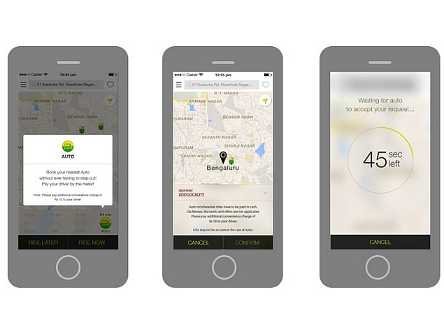 Ola Cabs Rolls Out OnDemand Auto Rickshaw Service in