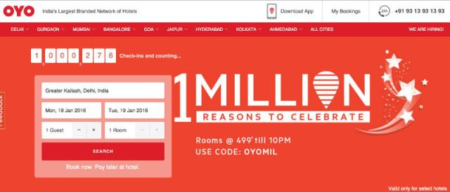 Oyo Rooms Claims 1 Million Check-Ins; Celebrates With a Flash Sale