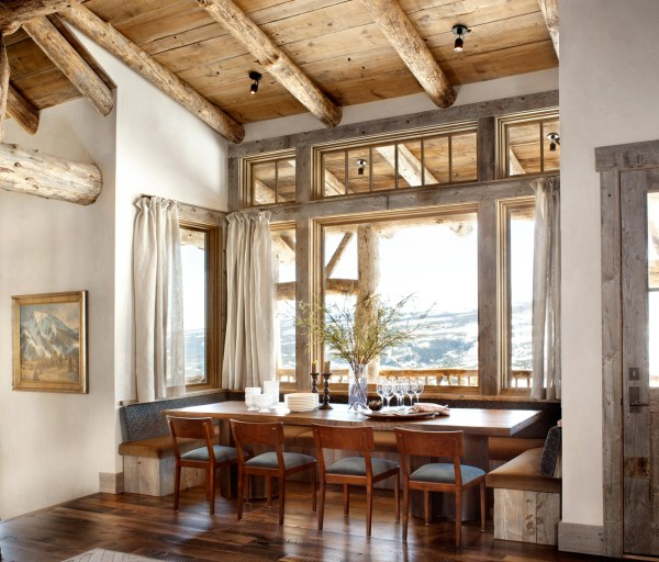 Rustic Breakfast Nook Surrounded Windows And Mountains In Yellowstone Club Montana Os