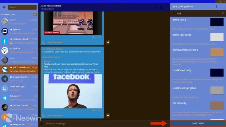 Arrow pointing to the Save Theme button in Telegram Desktop