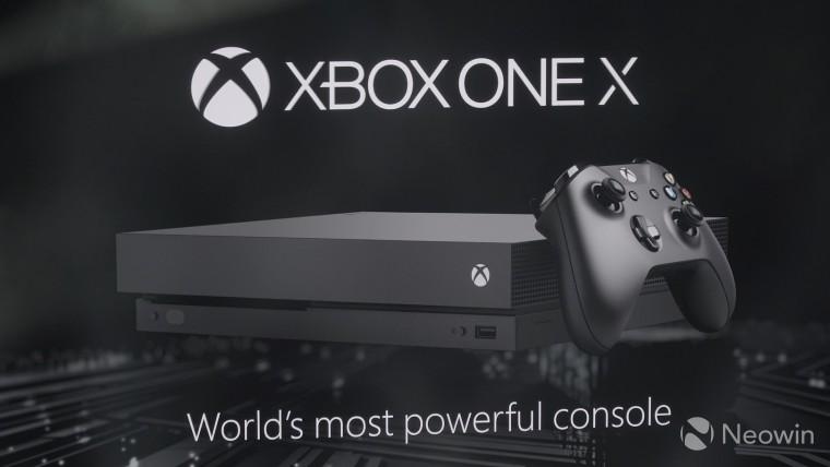 A black Xbox One X