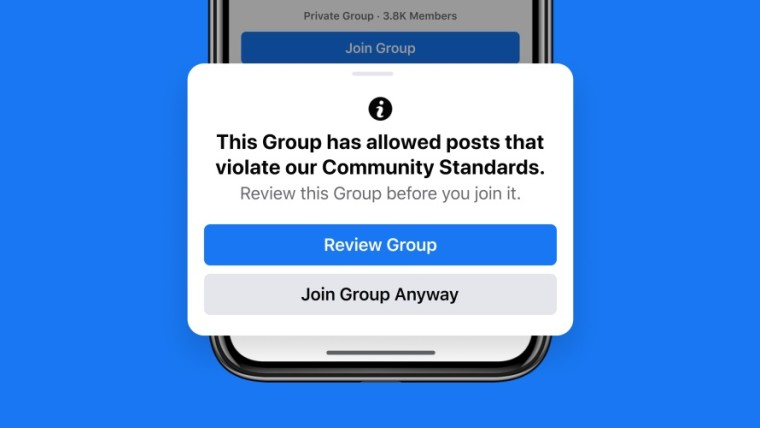 Warning about joining a Facebook group that has allowed violations of community standards
