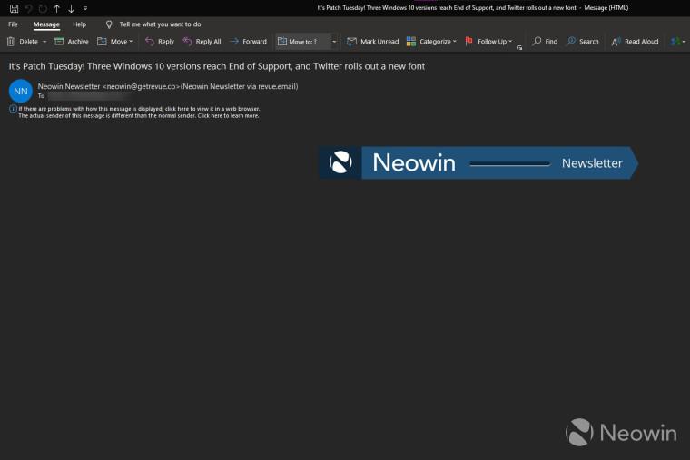 Bug do aplicativo de desktop Outlook exibindo um e-mail em branco do boletim informativo Neowins