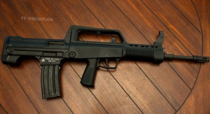 The Norinco T97. This affordable bullpup is chambered in .223 and accepts standard AR-15 mags.