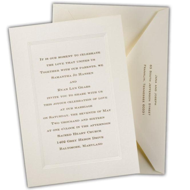 Ecru Tradition Wedding Invitations