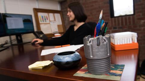 Clara Blättler at her desk
