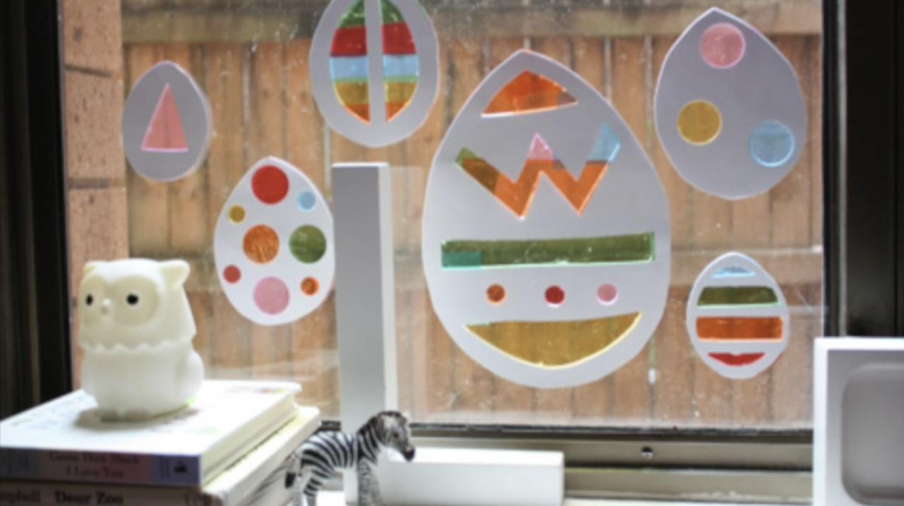 Stained glass Easter window decorations