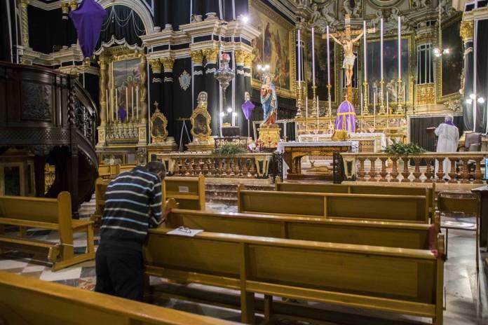 Empty church due to coronavirus measures