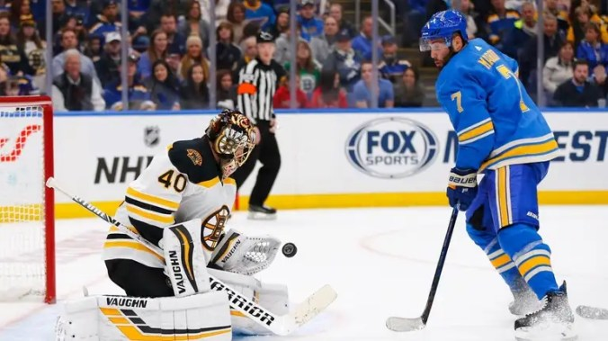 Bruins goalie Tuukka Rask makes a save against