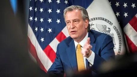 New York Mayor Bill de Blasio, seen
