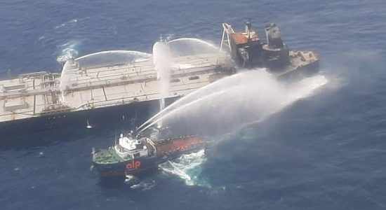 Reignited fire aboard the MT New Diamond contained; Sri Lanka Navy