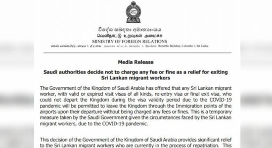 Saudi authorities decide not to charge any fee or fine as a relief for exiting Sri Lankan migrant workers