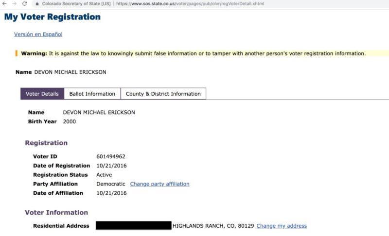 Devon Erickson's Colorado voter registration record.