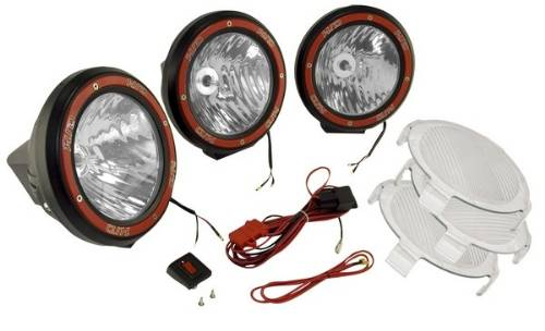 HID Off Road Fog Light Kit, 3 Lights W/Wiring Harness, 5