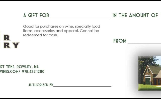 Mill River Winery Gift Certificate