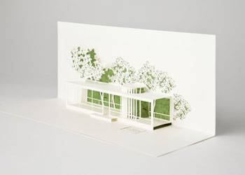 3D card of The Glass House Philip Johnsons Glass House