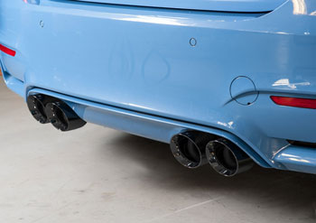 bmw f80 m3 switchpath non resonated exhaust with 102mm diamond black tips by awe tuning