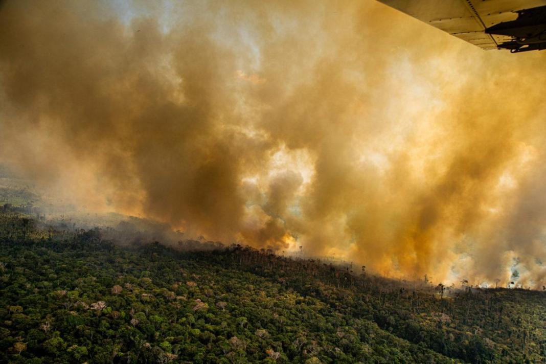 A fire next to the borders of the Kaxarari Indigenous territory, in Lábrea, Amazonas state, Brazil. Taken 17 Aug, 2020.
