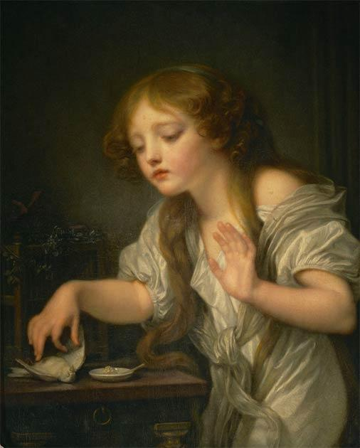 Girl weeping for her dead bird, a 1759 painting by Jean-Baptiste Greuze