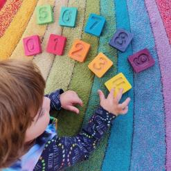 Handcrafted Wooden Number Cuboids (Rainbow) by Hellion Toys