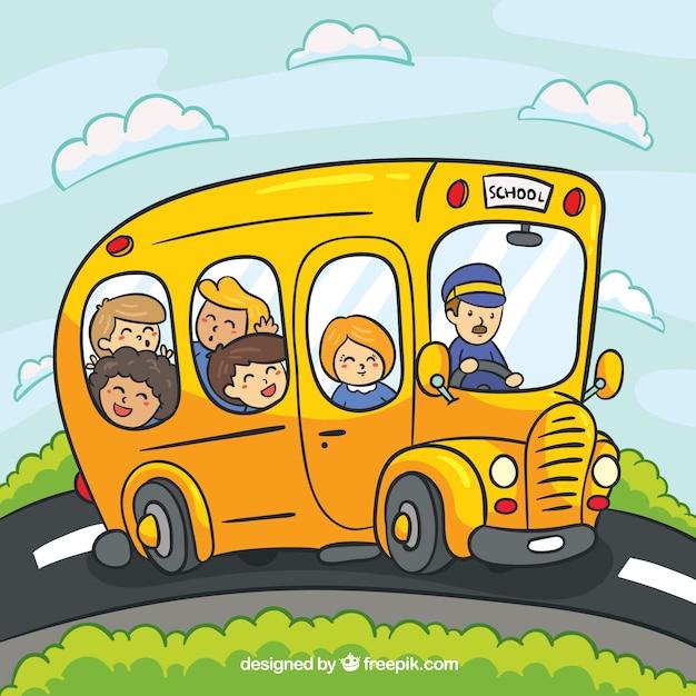 Cartoon School Bus With Children Nohat Free For Designer