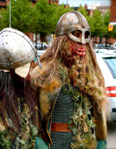 Viking zombie design by Julius Sepponen (left) of Make Up For Ever Academy Finland. (Play, Juhana Pettersson)