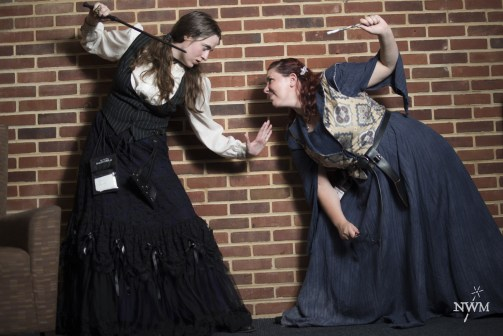 A vampire and a poltergeist pretend to face off in NWM4. Photo by Learn Larp LLC.
