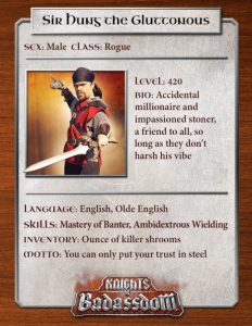 Character sheet as promotional material for Knights of Badassdom (2013). Photo by Evan Torner.