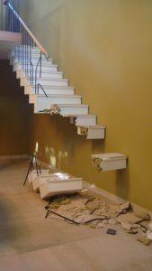a staircase broken