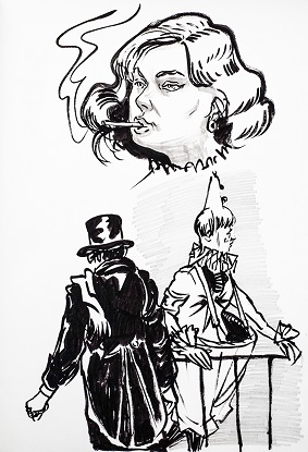 woman smoking, man in tophat, and clown