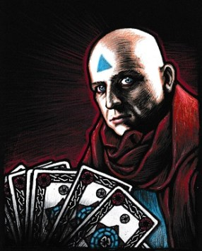 bald man with a triangle on his forehead and tarot cards