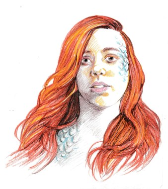 person with long red hair and blue scales