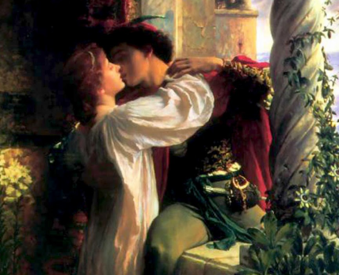 Juliet kissing Romeo on a balcony