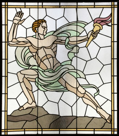 stained glass of male Olympian