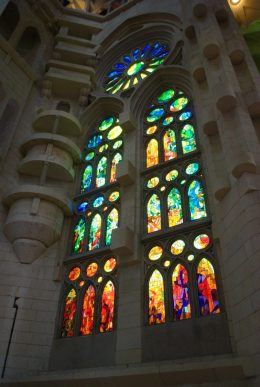 Stained glass window in Gaudi cathedral