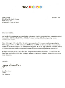 In5000 2009 award cover letter