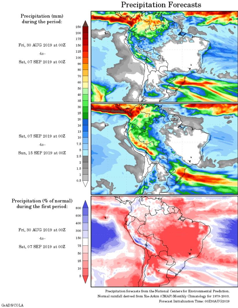 Mapa com a tendência de precipitação acumulada para o período de 30 de agosto até 15 de setembro - Fonte: National Centers for Environmental Prediction/NOAA