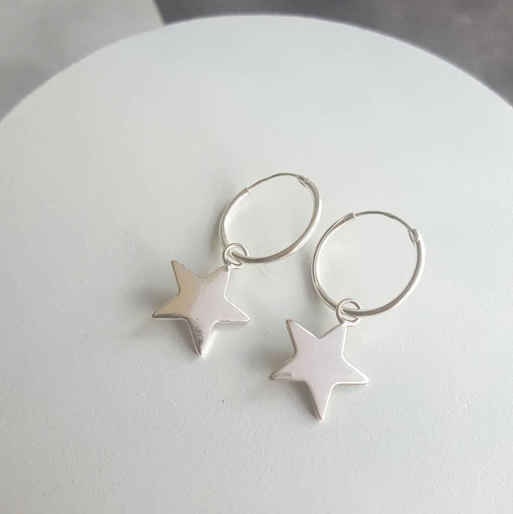 sterling silver star hoop earrings by essentia by love